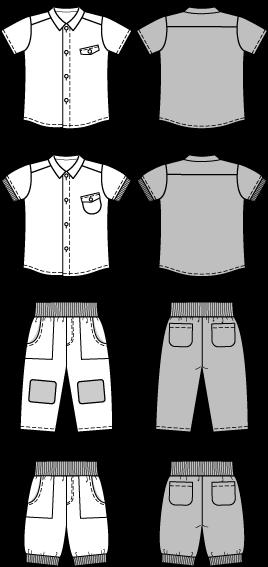 Schnittmuster Jungen-Kombination Hose und Hemd, Gr. 68 bis 98 ...