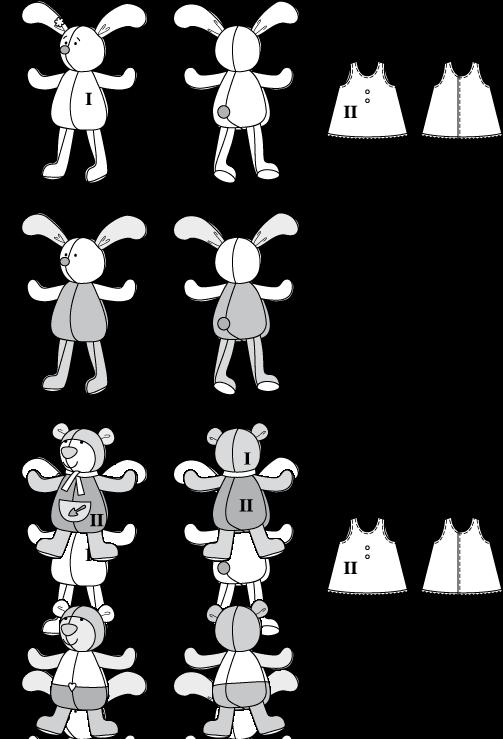 Nähpaket Hase und Bär, ohne Stoff/für Stoffreste mit Burda ...